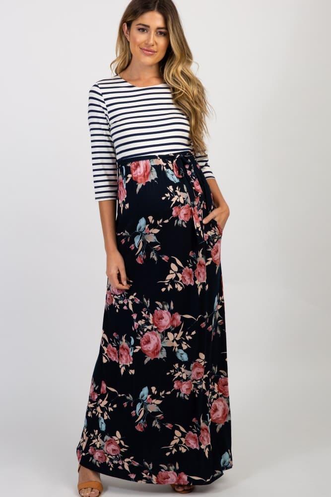 d002b3bbfbc23 Pink Rose Print Maternity Maxi Dress. $61$49. Navy Striped Floral Maternity  Maxi