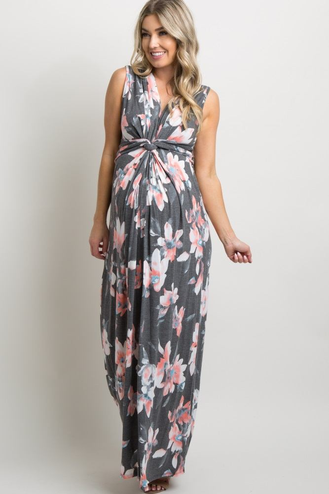 03b7076a33a8c Navy Lace Overlay Fitted Maternity Dress. $78. Charcoal Floral Knot Front  Maternity Maxi