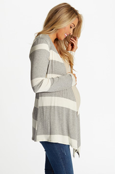 ebed6a971d9 Navy Blue White Striped Colorblock Maternity Cardigan