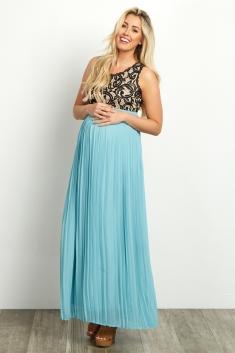 90d567c0b192 Pale Pink Pleated Chiffon Lace Top Maternity Maxi Dress