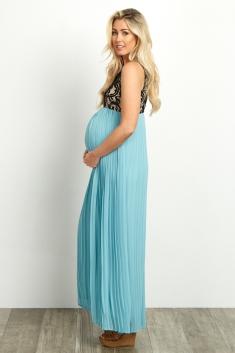 44bad191e72 Pale Pink Pleated Chiffon Lace Top Maternity Maxi Dress
