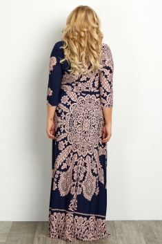 d7293dd7fb2 Navy Pink Printed Draped Maternity Maxi Dress