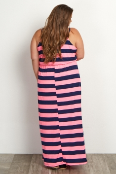 5665367659ebd Pink Navy Striped Plus Size Maternity Dress