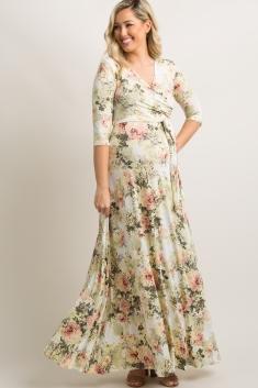 ffc325e1106 Ivory Floral Maternity Wrap Maxi Dress