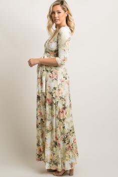 0b48e9dd546 Ivory Floral Maternity Wrap Maxi Dress