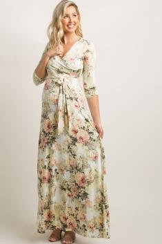 e60aa1310fb Ivory Floral Maternity Wrap Maxi Dress