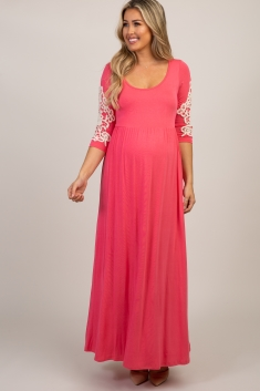 2a0604b071d0a Type something above to find products. Coral Crochet Sleeve Maxi Dress