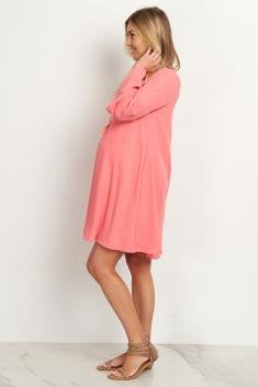 a9eee477be88 Salmon Chiffon Bell Sleeve Maternity Dress