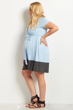 d03ce3a9b633a Light Pink Colorblock Border Plus Size Maternity/Nursing Dress