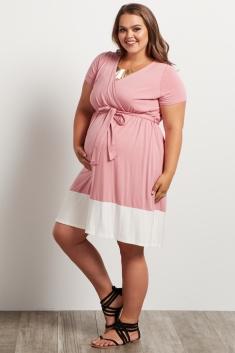 52a7a1e18aae5 Pink Colorblock Border Plus Size Maternity/Nursing Dress