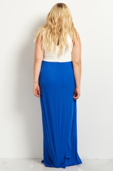 Royal Blue Colorblock Plus Size Maternity Maxi Dress