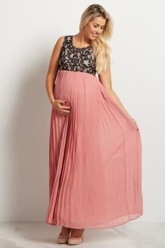 45934bcede74 Mauve Pleated Chiffon Lace Top Maternity Maxi Dress