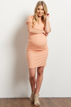 46b4da54f7e67 Tall Navy Polka Dot Fitted Maternity Dress