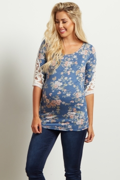 3c2b130878c15 Charcoal Floral Crochet Sleeve Maternity Top