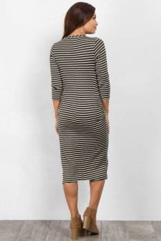 44c7ce93d980f Burgundy Striped Button Up Midi Maternity Dress