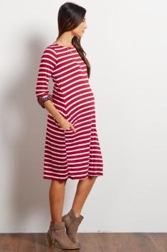 2e38de544ea26 Burgundy Striped Plaid Cuff Midi Maternity Dress