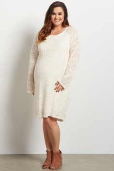 4186b676e1c Ivory Lace Rosette Overlay Fitted Maternity Dress