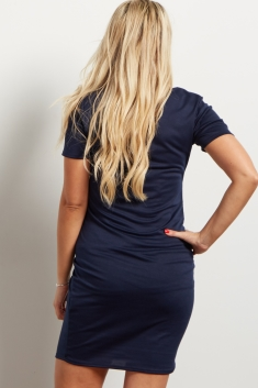 24d428c1731 Navy Scoop Neck Fitted Maternity Dress