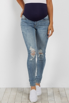 46fef2d747e25 Light Blue Faded Distressed Maternity Skinny Jeans