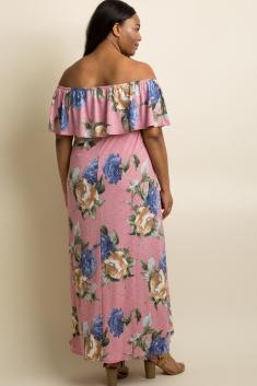 5c91a8ff17 Black Floral Off Shoulder Sash Tie Maternity Maxi Dress