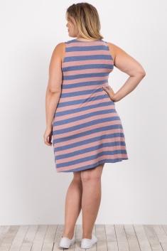 56d0e6ad6d5f2 Mauve Striped Plus Maternity Tank Dress