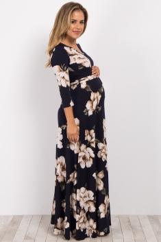 a3bf76bdf2 Navy Floral Maternity Nursing Wrap Dress