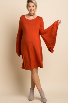 a4d82067ad5ae Rust Solid Bell Sleeve Maternity Dress