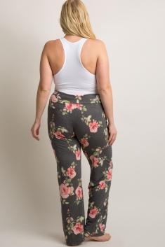 1154bd3cc1bf5 White Floral Plus Maternity Pajama Pants