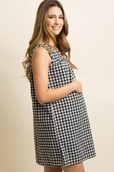 21497f0c28d32 Blue Gingham Print Cutout Ruffle Trim Maternity Dress