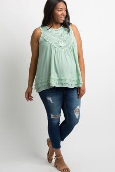 85604bd5ce5ccd Mint Green Crochet Neck Chiffon Maternity Blouse