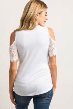 05c61b0195bdf6 White Lace Cold Shoulder Maternity Top