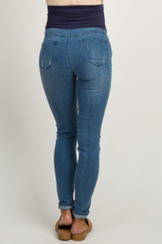 8d784ee8e4211 Blue Ripped Knee Maternity Jeans