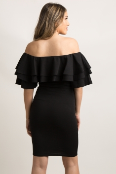 589ecf91268 Black Layered Ruffle Off Shoulder Fitted Maternity Dress