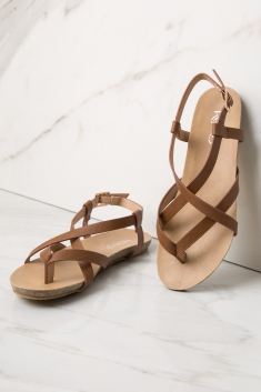 Sandal Slingback Faux Leather Strappy Camel IgvmYf76by