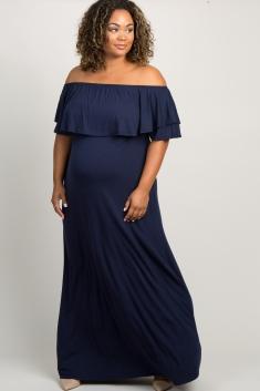 c00caf411d3ce Aqua Off Shoulder Flounce Maternity Plus Maxi Dress