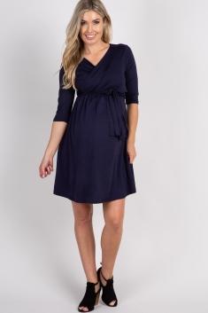 7d05be65bb Navy Solid Maternity Nursing Wrap Dress