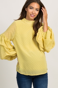4870d0e9df52a Yellow Swiss Dot Tiered Puff Sleeve Maternity Top