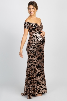 Black Sequin Off Shoulder Wrap Maternity Photoshoot Gowndress
