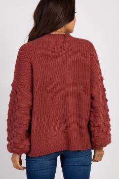 2b7c637e3cc21 Rust Textured Puff Sleeve Knit Maternity Sweater