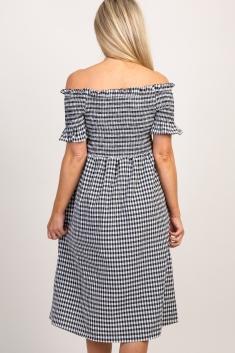 24b842a4d9a9c Black Gingham Smocked Off Shoulder Maternity Dress