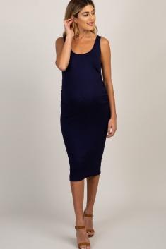 7076a063ff08c Navy Sleeveless Ribbed Maternity Dress