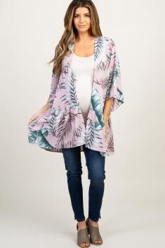 5a31893be Ivory Palm Leaf Tiered Maternity Kimono
