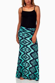 ecdd3ce364346 Coral Navy Blue Tribal Print Maternity Maxi Skirt