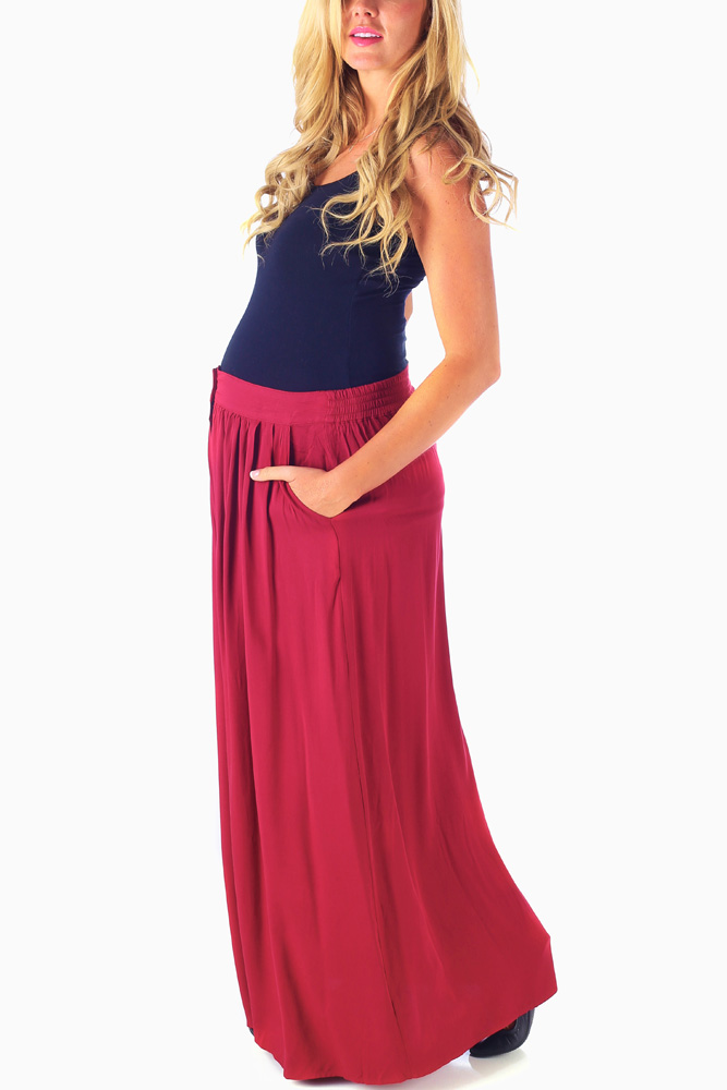 5c5160f75 Burgundy Button Front Maternity Maxi Skirt