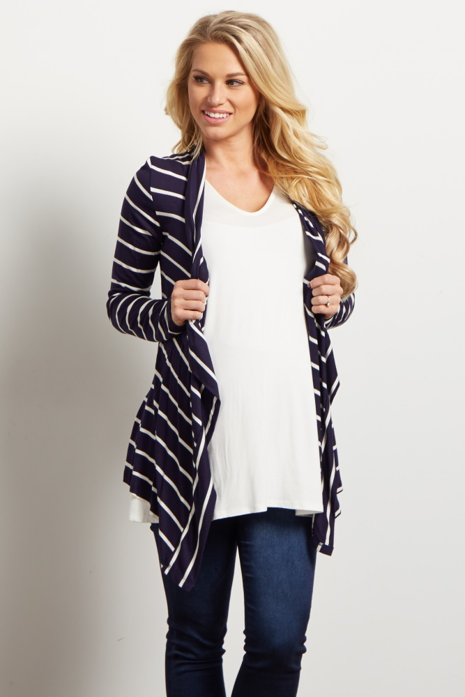 94b31f487c6 Navy Blue White Striped Flowy Maternity Cardigan