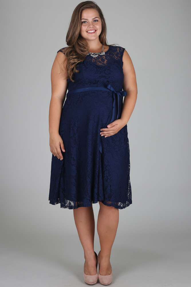 Navy Blue Lace Plus Size Maternity Dress