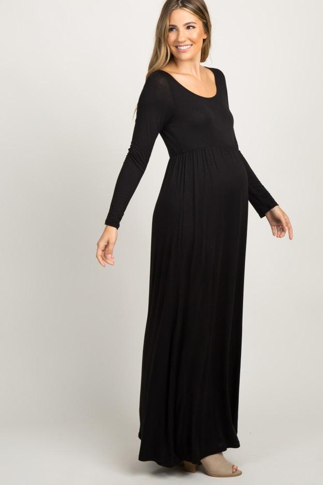 9d440daf79 Black Long Sleeve Basic Maternity Maxi Dress