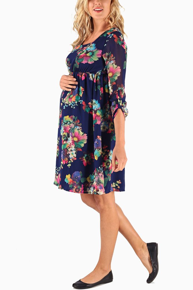 637563c94bc19 Navy Blue Neon Floral Printed Chiffon 3/4 Sleeve Maternity Dress