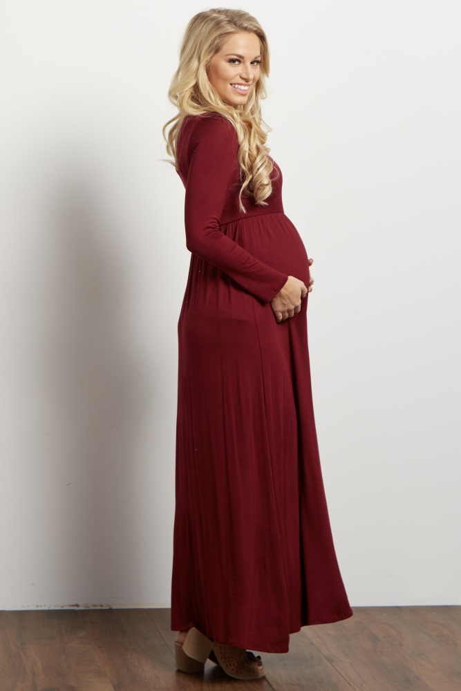 0746ace5d41ee Burgundy Long Sleeve Basic Maternity Maxi Dress