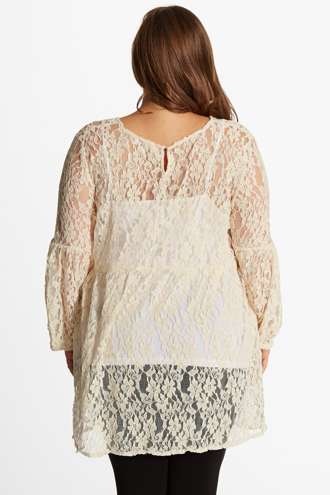 Cream Lace Floral Embroidered Front Bell Sleeve Plus Size Maternity ...